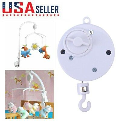 Baby Boy & Girl Crib Hang Bed Bell Toy Electric Musical Mobile Music Box White