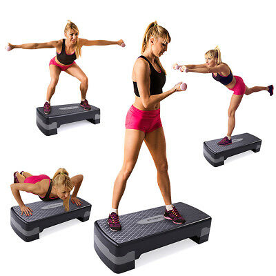 "27'' Fitness Aerobic Step Adjust 4"" - 6"" Exercise Stepper with Risers Home Gym"