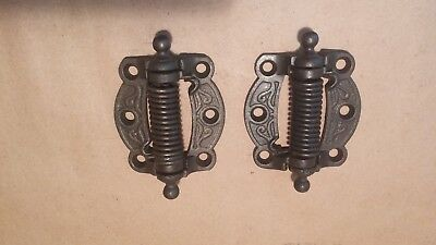 "Pair Ant, Ornate Victorian Cast Iron Screen door Spring Hinges: Restored 3"" x 3"""