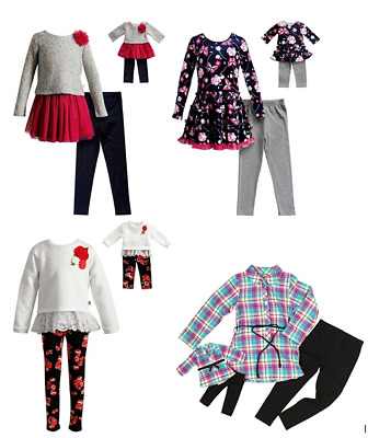 "NWT Dollie & Me Girl and 18"" Doll Matching Outfit Leggings and Top Set"
