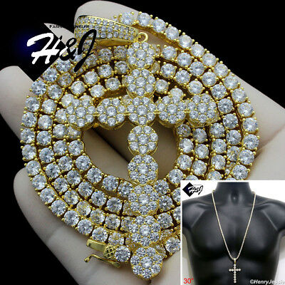 """925 STERLING SILVER 17/""""X3MM GOLD ICED 1 ROW TENNIS CHAIN CHOKER NECKLACE*GN10"""