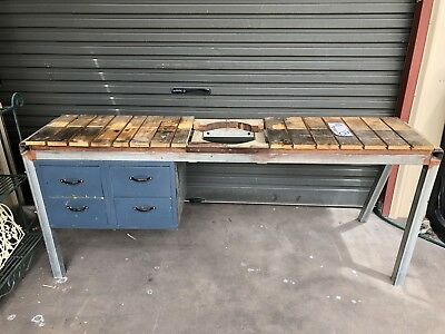 2 Metre Work Bench Saw Table Dovetail Draws Galvanised Steel Frame Adelaide QZZQ