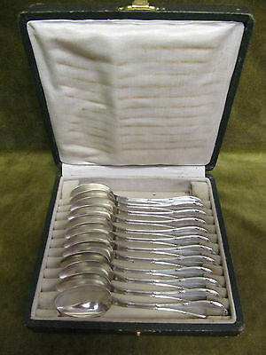 early 20th c french sterling silver 12 tea / coffee spoons Louis XVi st Lapparra