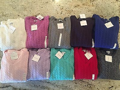 Womens Croft & Barrow V Neck Cable Knit Sweater NWT Assorted Colors S M L XL