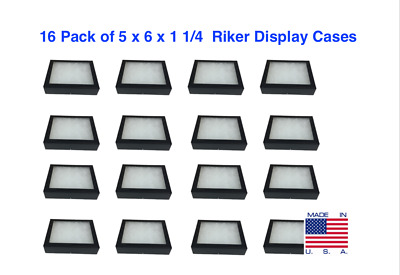 16 Pack of 5 x 6 x 1 1/4 Riker Display Cases for Arrowheads, Jewelry, & More