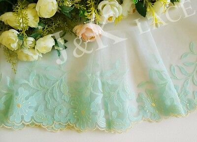 16.5 cm width Pretty Light Green/ Pale Yellow Embroidery Mesh Lace Trim