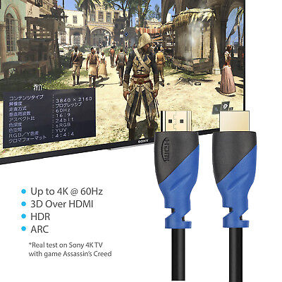 4K HDMI Cable Lead 2.0a/b for 4K Ultra HDTV HDR, 3D, SKY HD ,ARC,CEC, Ethernet