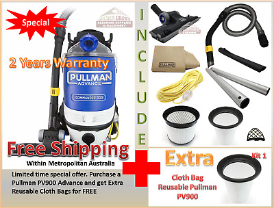 Pullman Advance Commander Commercial PV900 Backpack Vacuum Cleaner 2 Cloth Bag