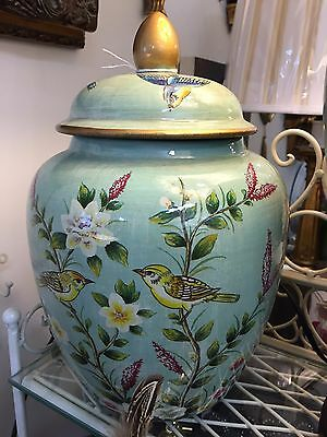 New large pale green spring flower yellow birds gold color trim ginger jar