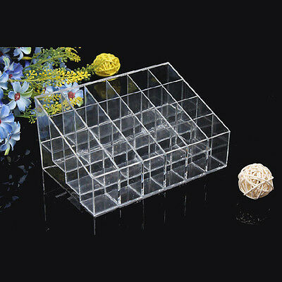Acrylic   Clear 24 Lipstick Holder Display Stand Cosmetic Organizer Makeup Case