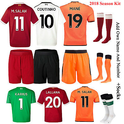 2017-18 Soccer Club Jersey Kits Short Sleeve Kids Youth 3-12 YRS Team Suit+Socks