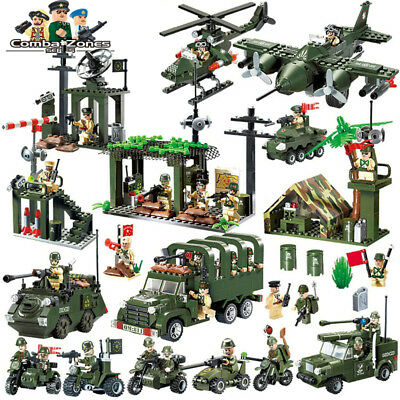 Complete War Scene Set Military Army Soldier, Vehicle, Weapon Etc Fit Lego Block