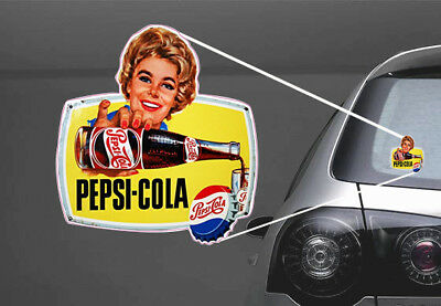 2x Vintage Pepsi Cola 50s Pin up Sticker Car Truck Laptop Toolbox Bumper Locker