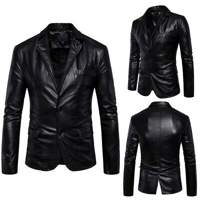Men's Genuine Lambskin Real Leather Blazer Jacket Two Buttonlim Fit Coat Pop