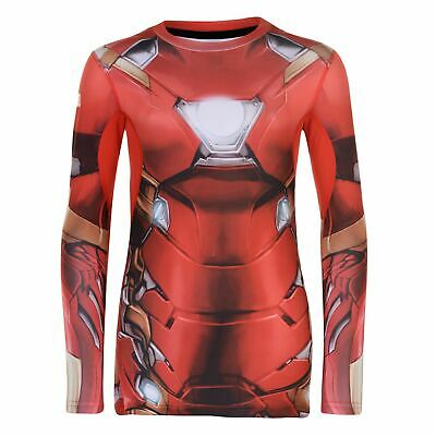 Marvel Kids Boys LS Baselayer Top Junior Compression Armor Thermal Skins Long