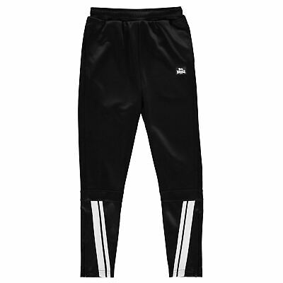 Lonsdale Kids Boys 2 Stripe Tapered Pants Junior Poly Tracksuit Bottoms