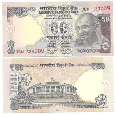 Indien India 50 Rupees 2016 New Signature Letter R Unc P 104