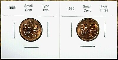 Canada 1965 Small Cent Type 2 & 3 Large & Small Beads Gem BU Set!!