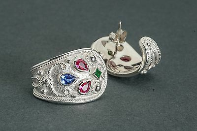 Byzantine Earrings 925 Solid Sterling Silver Rubies-Emeralds-Sapphires