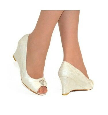 @2X   Womens Wedding Court Shoes Wedge Heels Lace Satin Ivory Uk3 Mules Party