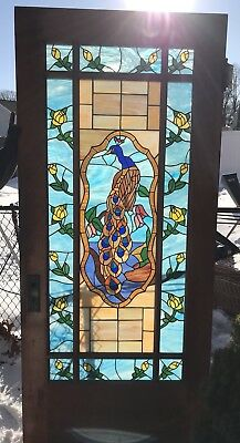 Beautiful Stained Glass Peacock Entry Door