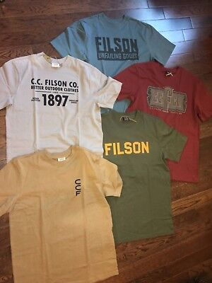 NWT FILSON MEN L M ALASKA OUTFITTERS GRAPHIC T-SHIRT Red Brown Tan Blue USA MADE