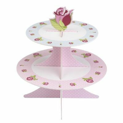 Vintage Rose 2 Tier Paper/Card Cupcake Stand, Wedding Tea Party Shabby Chic