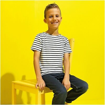 Kids Childrens Stripe Breton Top Short Sleeve T-Shirt Tee Sailor French Top Navy
