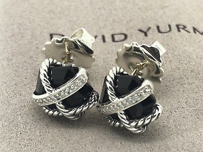 David Yurman Cable Wrap Earrings With Black Onyx And Diamonds 10mm