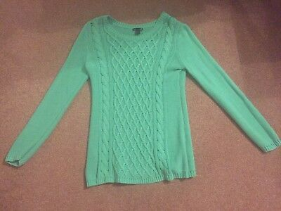 Maternity H&M Mama Green Cable Knit Jumper L Large
