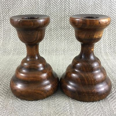 Antique Wooden Candlesticks 1930s Walnut Turned Wood Pair Treen