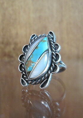 TURQUOISE Abalone Ring Vintage Zuni Inlay Native American Sterling Silver Size 9