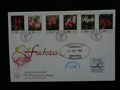 ISLE OF MAN 1988 FUSCHSIAS 6v & TPO ANNIVERSARY CARRIED FIRST DAY COVER