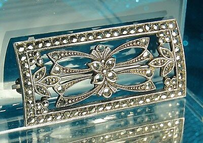 "ART DECO Brooch Pin 1930s STERLING Silver & MARCASITES Open Design 1.5"" x 3/4"""