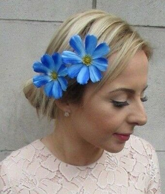 2 x Electric Blue Daisy Flower Hair Clips Bridesmaid Fascinator Festival 5235