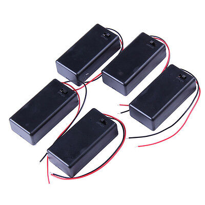 5PCS DC 9V Battery Holder Box Case With Wire Lead Cover Top Quality Easy t COP