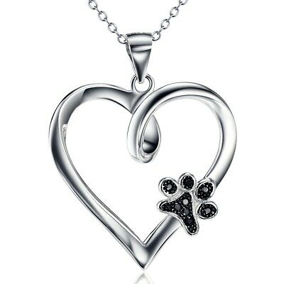 925 Sterling Silver Forever Love Heart Puppy Paw Pendant Necklace Rolo Chain 18""