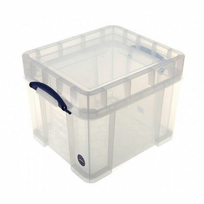 """Really Useful Clear Plastic Storage Box 35 Litre Xl 12"""" LP Records Container"""