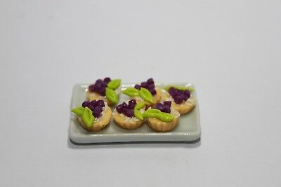 6 Pcs Blueberry Pie on Tray Dollhouse Miniatures Food & Groceries