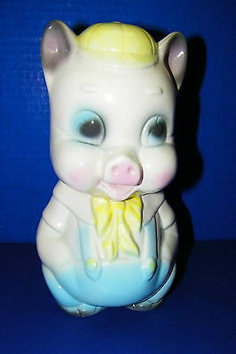 Vintage Pottery Ceramic Porky Pig Coin Bank Blue Bib Overalls & Yellow Cap Hat