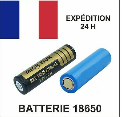 BATTERIE rechargeable ACCU 18650 3.7V LI-ION 4200 mAh LED + LG 3200 mAh