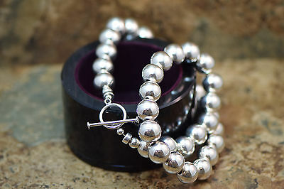 """Sterling Silver 10mm Round Beaded Necklace With Toggle Clasp 16"""""""