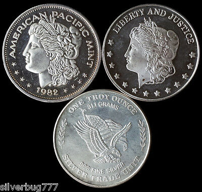 *LOT OF 3* VINTAGE Am Pac / Northstar / U.S. Assay Silver Rounds - TOTAL 3 oz