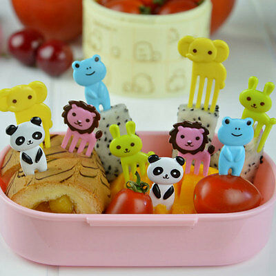 10× Kid Bento Cute Animal Food Fruit Pick Forks Lunch Box Accessory Decor Tools