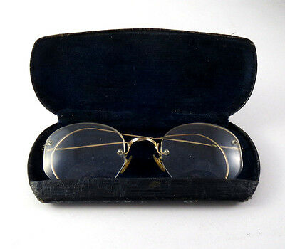 Shuron 1/10 12K GF Rimless Vintage Antique Spectacles Eyeglasses Gold with case