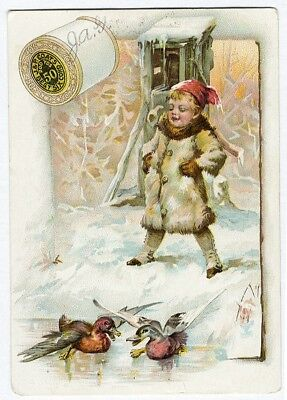 J & P COATS Sewing Six Cord Thread Trade Card 1880's CHILD & DUCKS in Snow
