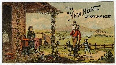 NEW HOME SEWING MACHINE Out West Victorian Trade Card 1880's Family Homestead