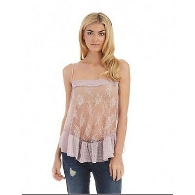 Free People Lace Trapeze Misty Pink Lilac Sheer Camisole Top Size M, New $48