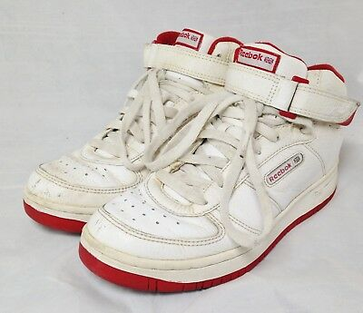 f30952a0d40c Vintage 90s Reebok White Red Leather High Top Basketball Sneakers Men s 7.5