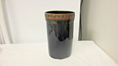 Older Always Azul Potteries Villa Grove Colorado Marked Kitchen Utensil Holder